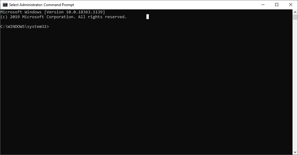 Command Prompt in Admin mode